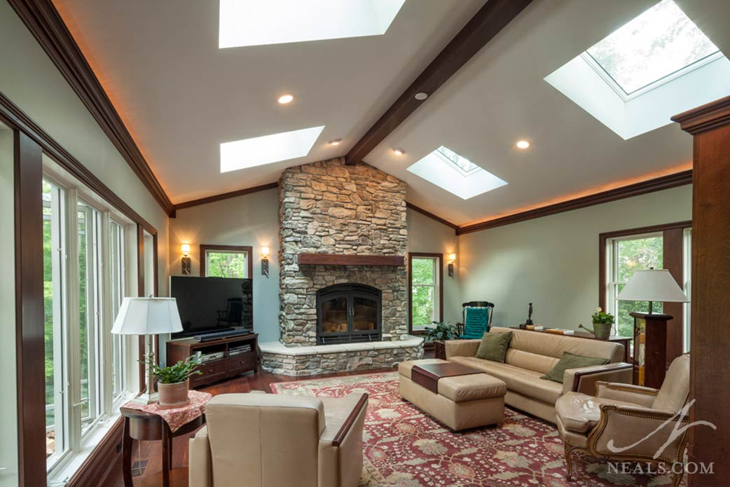 Den addition fireplaces in Sycamore Township, OH.