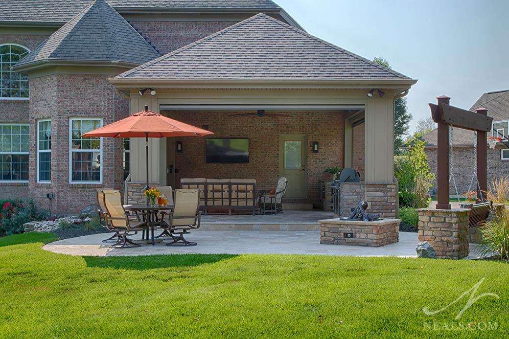 An outdoor living room in White Oak, Cincinnati, Ohio.