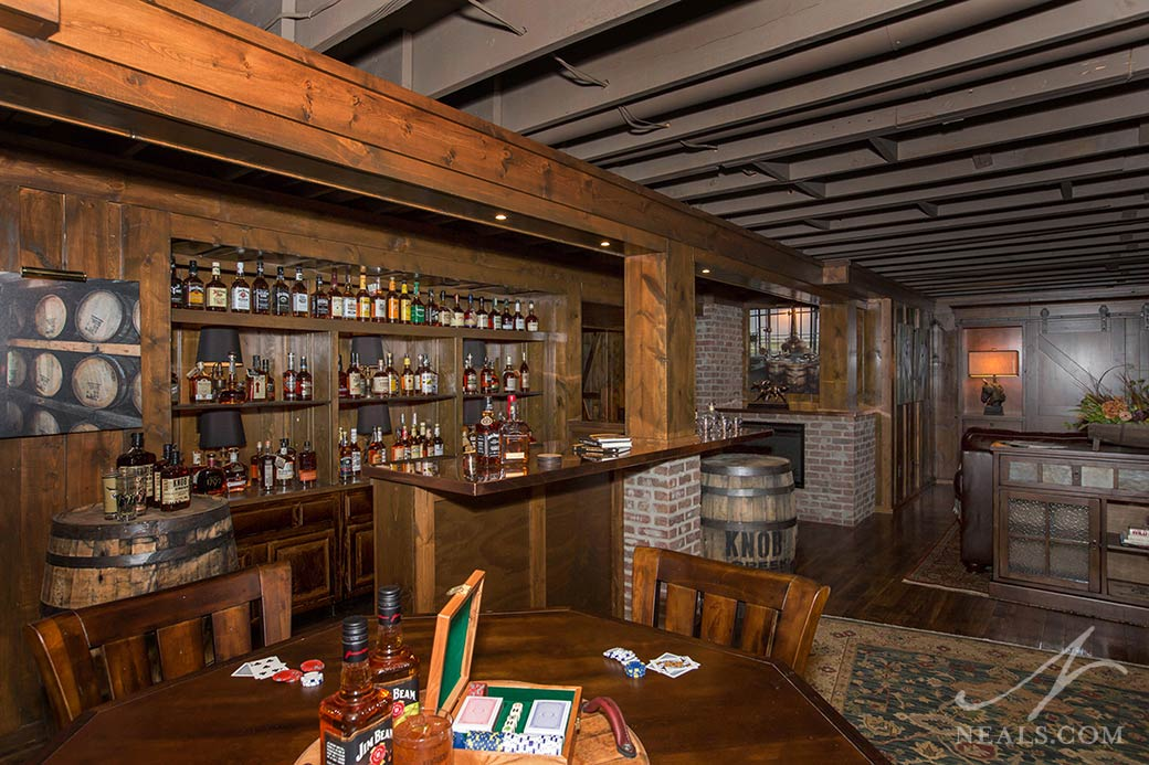 A Bourbon Country Inspired basement remodel in Glendale, Ohio.