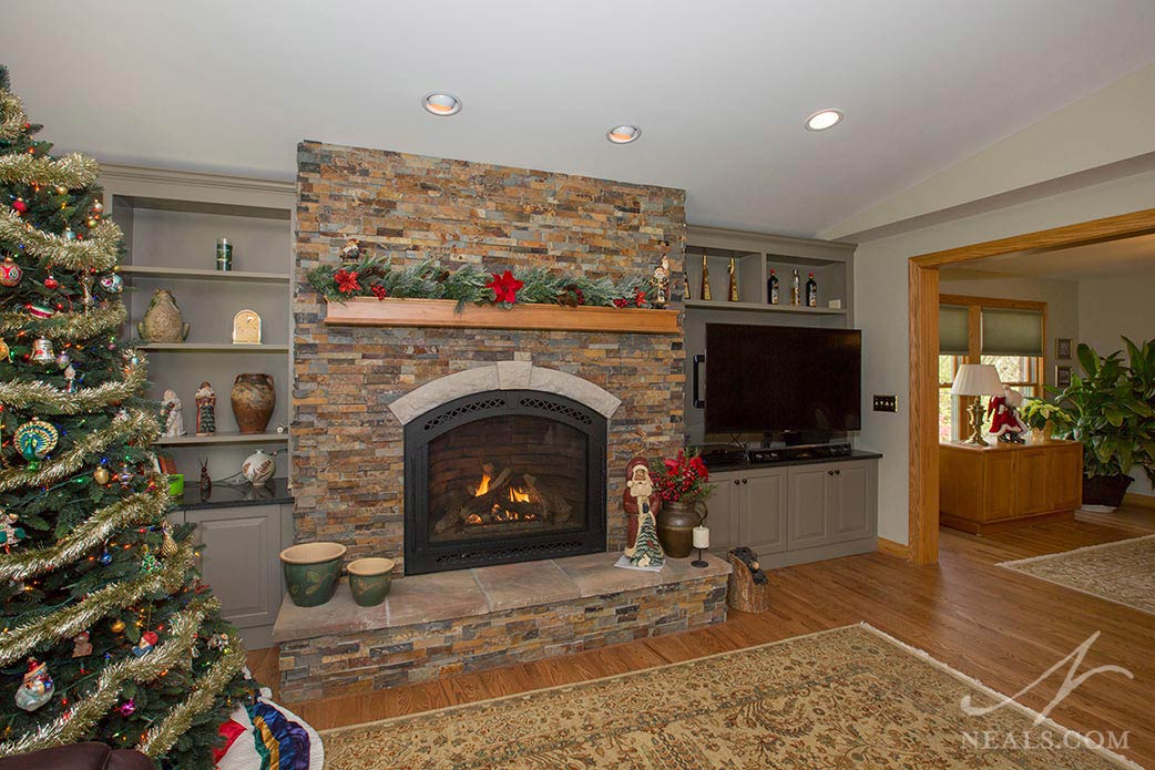 A family room fireplace in Morrow, Ohio.