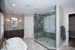 Gray And White Transitional Bath