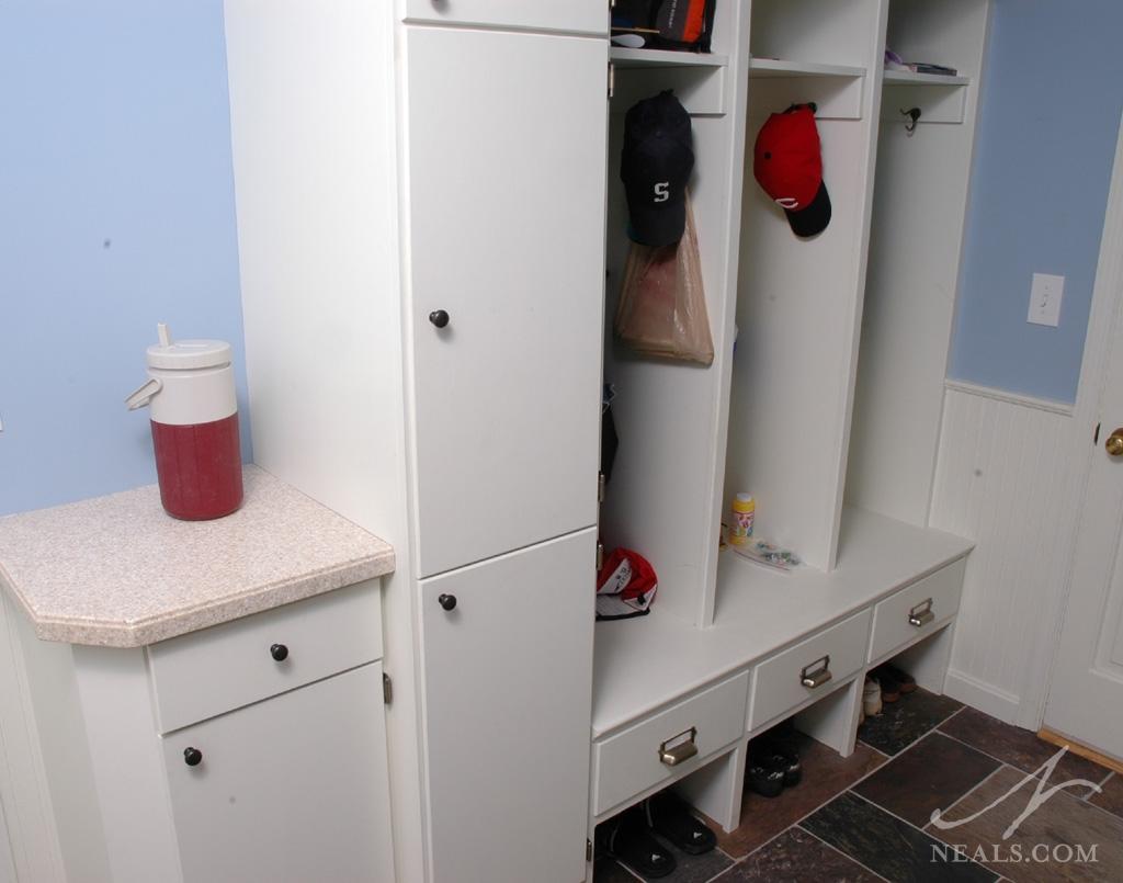 A locker-like cubbies built-in in Western Hills, Ohio.