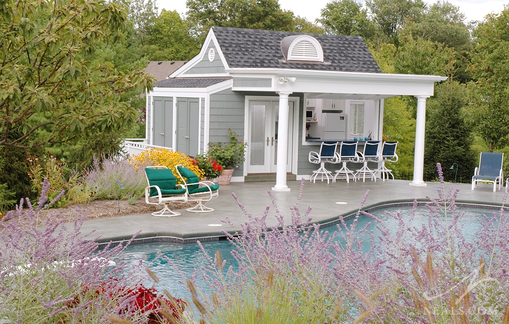 Nantucket-Inspired Pool House in Mt. Washington, Ohio.
