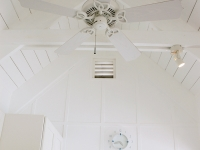 The vaulted ceiling in the kitchen is perfect for style and airflow.
