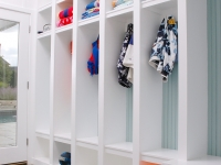 Open lockers in the hall offer easy storage for guests' items.
