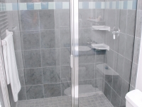 A spacious shower is ideal for an after-swim wash.
