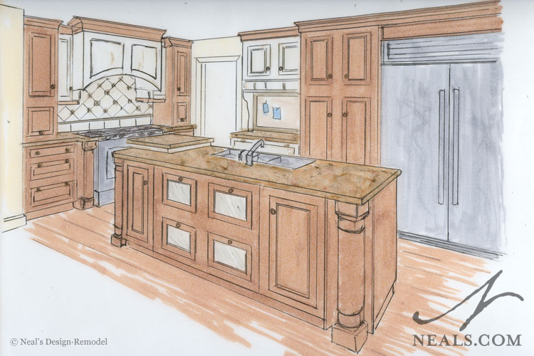 Open Kitchen Perspective Drawing