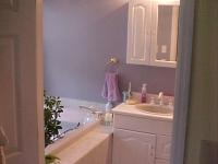 Master Bath Before, view through bedroom door
