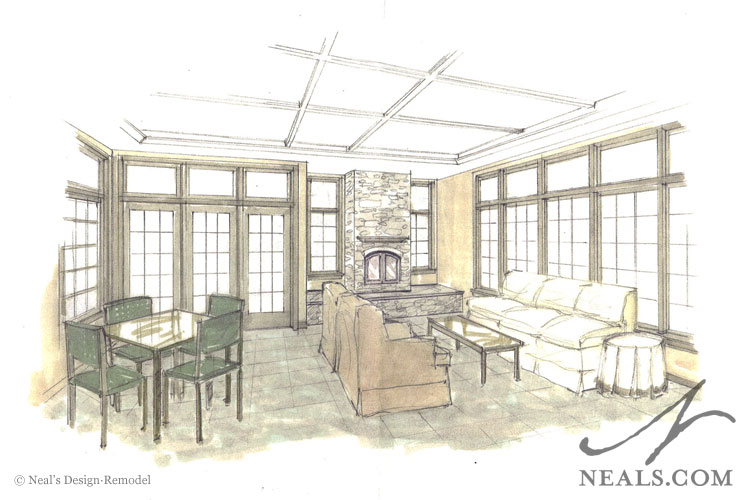 Year-Round Sunroom Perspective Drawing