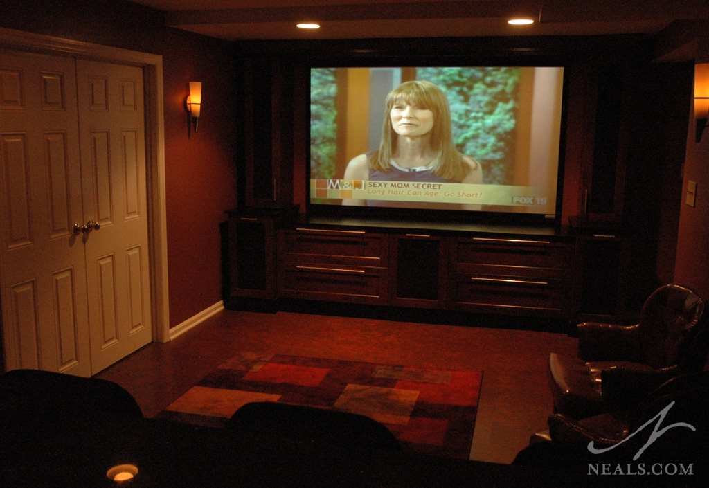 A home theater remodel in Loveland, Ohio.
