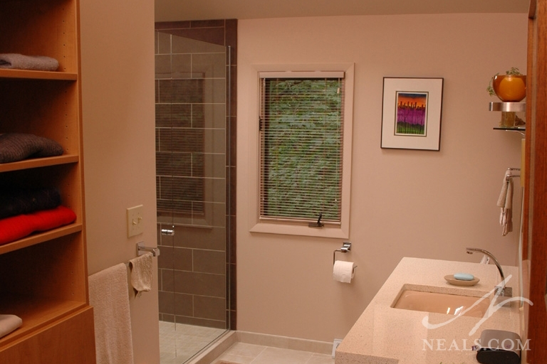 A contemporary master bathroom remodel in Newtown, Ohio.