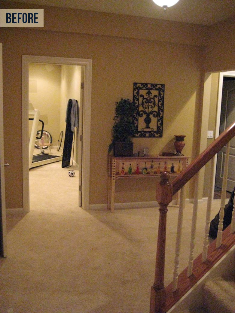 BEFORE: Off the steps, a small hallway mostly concealed what rooms lay beyond. | Neal's Design Remodel Summer Update 2014