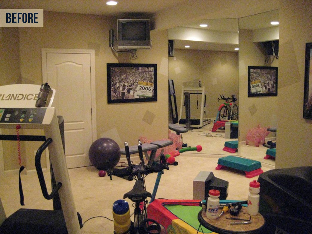 BEFORE: One of the first areas off the stairs was a space used as a home gym. While spacious and comfortable, it was in the wrong location when company came over. | Neal's Design Remodel Summer Update 2014