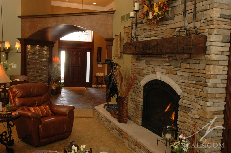 A great room fireplace in Withamsville, Ohio.