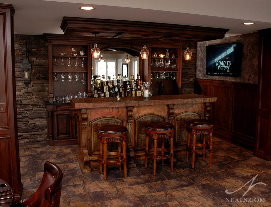 A reclaimed rustic bar in Maineville, Ohio.