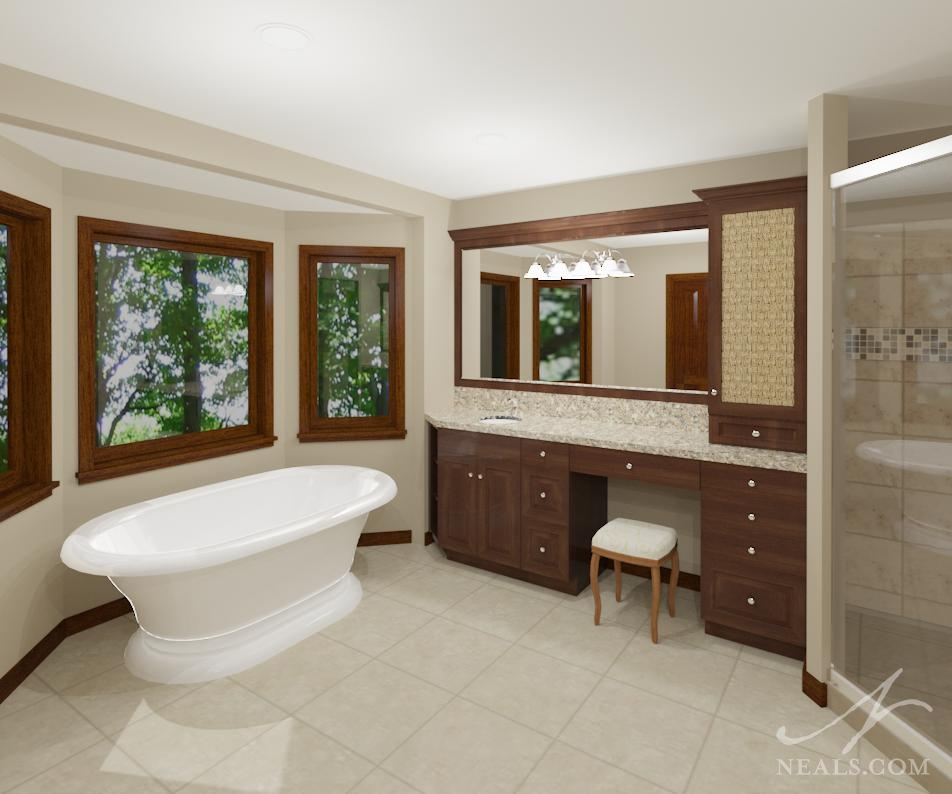 A traditional bathroom remodel digital render.