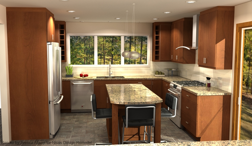 Digital render of a contemporary kitchen.