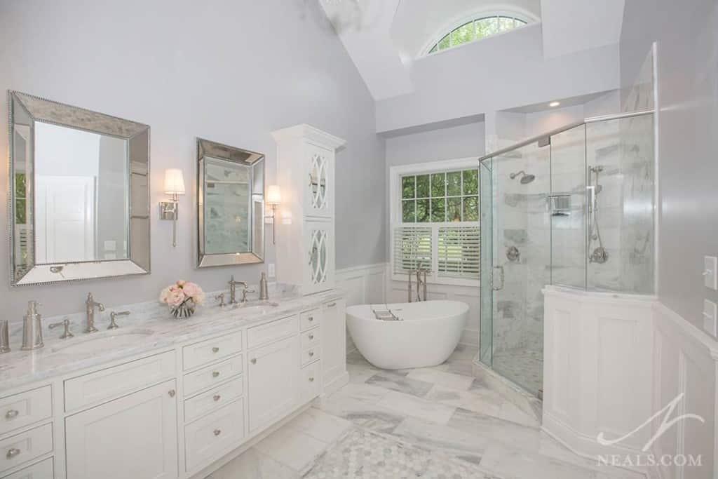 Classic White Master Bath « Neals Design & Remodel