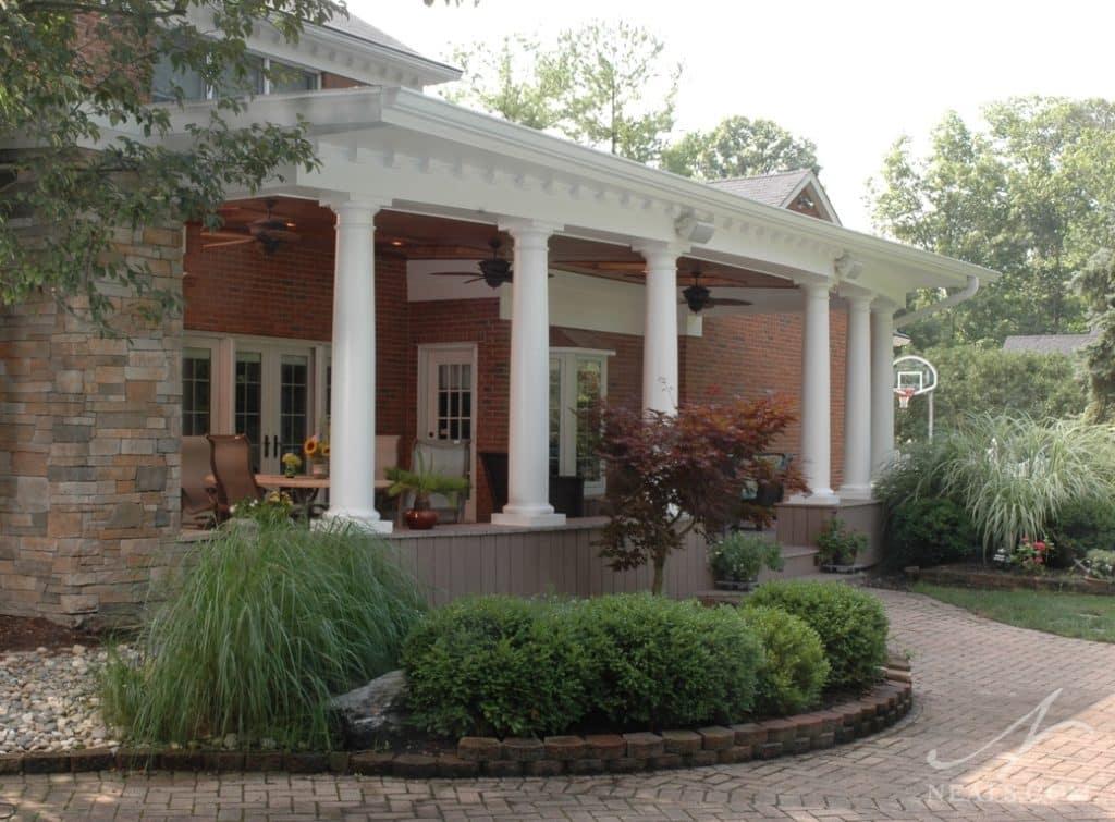Classic Back Porch Veranda in Indian Hill Cincinnati Ohio